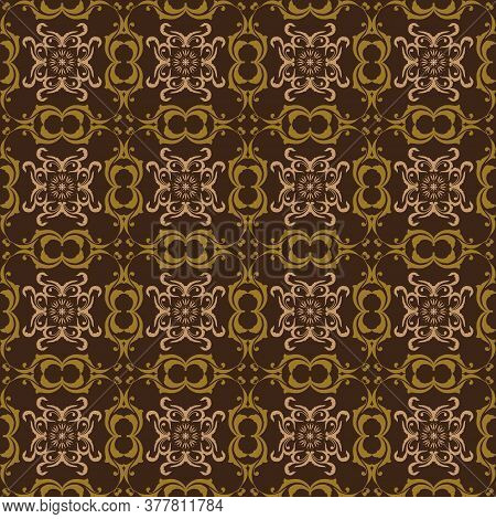 Unique Flower Motifs On Javanese Batik Design With Dark Brown Color Design.