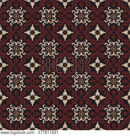 Simple Flower Motifs On Tradisional Batik Design With Red Brown Color Design.