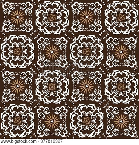 The Simple Flower Motifs On Indonesia Batik Design With White Brown Color Design.