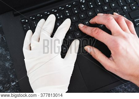 Staying Safe After The Covid-19 Virus Pandemic Outbreak, Hand Typing On Shared Computer Keyboard At