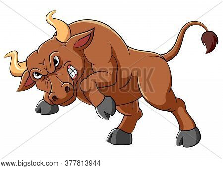 Angry Brown Bull Cartoon Character Of Illustration