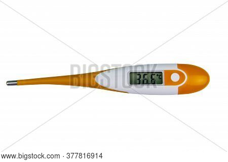 Digital Medical Thermometer Showing Healthy Human Body Temperature 36.6 Degrees Celsius Isolated On