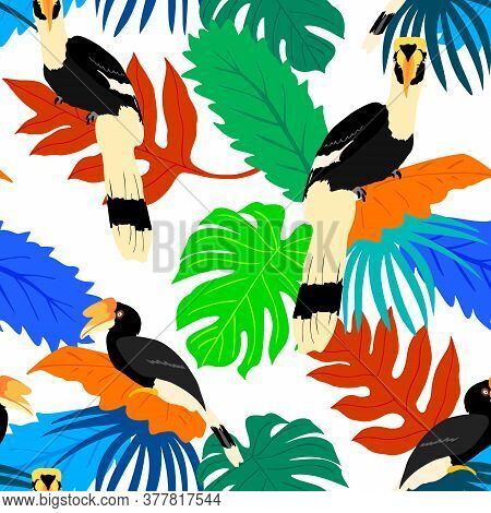 Exotic Birds With Tropical Leaves Seamless Pattern. Tropical Jungle Foliage Vector Illustration. Sum