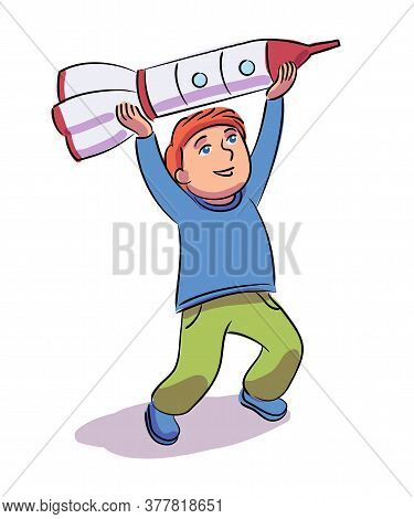 Happy Boy Playing With Toy Rocket. Smiling Cute Funny Child. Vector Illustration