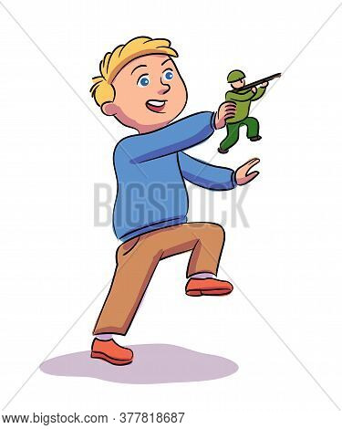 Little Boy Playing Toy Soldier. War Game. Preschooler Child Character Standing Isolated On White Bac