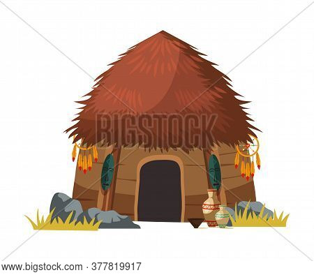 African Tribal Hut House Isolated On White. Traditional Aboriginal Design And Decoration. Ancient Et