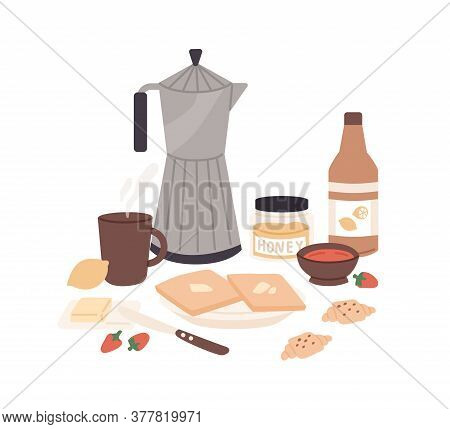 Composition Of Classical Fresh Tasty Breakfast Vector Flat Illustration. Coffee, Croissant, Toasts W