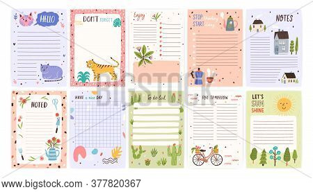 Childish Cute Agenda Set, Appointment Notebook Page With Place For Text. Empty Sheets For To Do List
