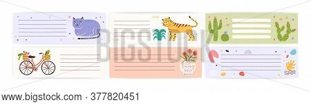 Set Of Childish, Cute Agenda, Organizer. Weekly Memo Page With Place For Text. Design Element Decora