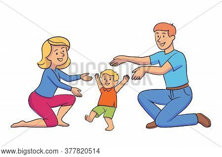 Mother And Father Teaching Baby To Walk. First Kid Steps. Mom Dad Playing With Little Child. Loving