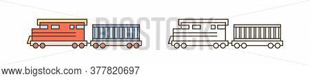 Modern Train, Locomotive Icon. Commercial Railway Vehicle With Goods Wagon. Logistics, Shipment, Car