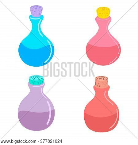 Set Of Magic Potion. Elixir, Antidote. Flat Vector Illustration. Design For Halloween, Invitation Ca