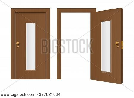 Doorway Mockup With Open And Closed Door, Realistic Vector Illustration Isolated.