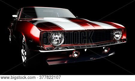 3d Illustration. Muscle Red Car Rendering Isolated On Black Background. Vintage Classic Sport Car. C