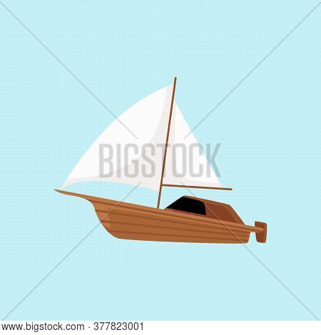 Wooden Sailboat With Outboard Engine - Motorboat With White Sails I