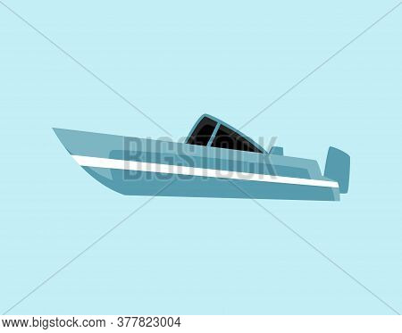 Blue Flat Motor Boat - Isolated Cartoon Motorboat Type Water Transport.