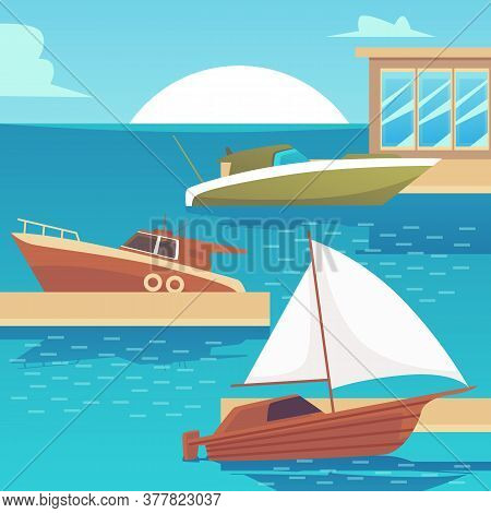 Wooden Motorboat And Yacht Boats In Sea Dock On Sunset Landscape
