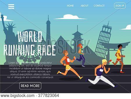 World Running Race Website Banner With Runners On Landmark Background