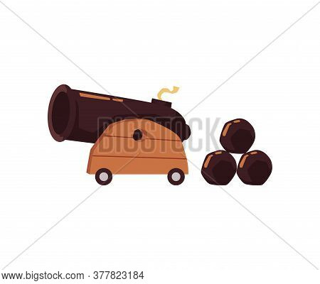 Cartoon Cannon Gun With Projectile Balls - War Artillery Weapon