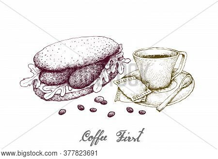 Coffee First, Illustration Hand Drawn Sketch Of A Cup And Coffee Glass Pot With Homemade Freshly Bag