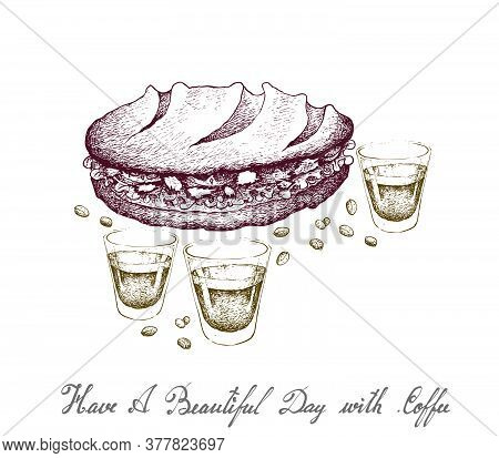 Have A Beautiful Day With Coffee, Illustration Hand Drawn Sketch Of A Shot Glass And Coffee Glass Po