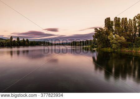 Evening Light At River Rhine Near Stein Am Rhein, Canton Of Schaffhausen, Switzerland