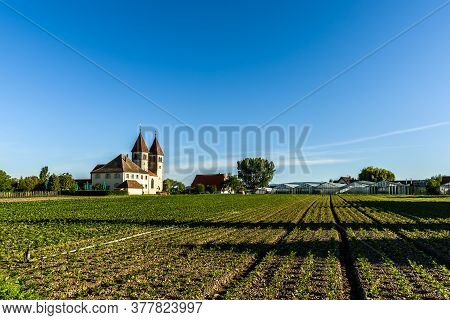 Church Of St. Peter And Paul, Vegetable Cultivation, Monastic Island Of Reichenau, Lake Constance, B