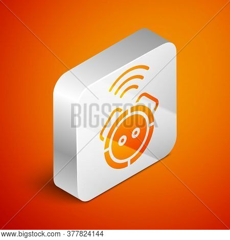 Isometric Robot Vacuum Cleaner Icon Isolated On Orange Background. Home Smart Appliance For Automati