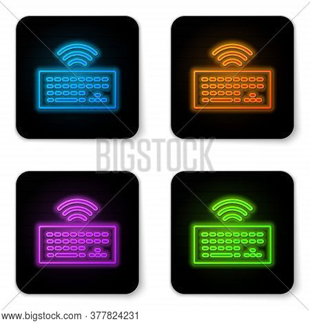 Glowing Neon Wireless Computer Keyboard Icon Isolated On White Background. Pc Component Sign. Intern