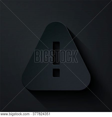 Paper Cut Exclamation Mark In Triangle Icon Isolated On Black Background. Hazard Warning Sign, Caref