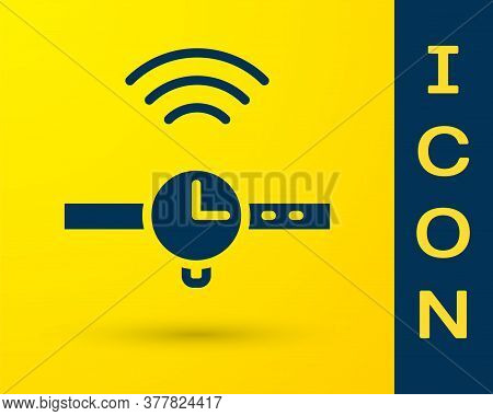 Blue Smartwatch Icon Isolated On Yellow Background. Internet Of Things Concept With Wireless Connect