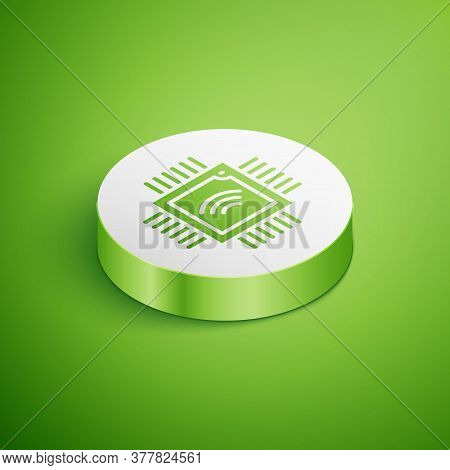 Isometric Computer Processor With Microcircuits Cpu Icon Isolated On Green Background. Chip Or Cpu W