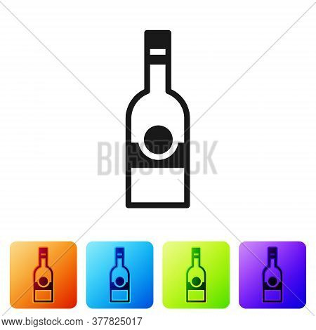 Black Glass Bottle Of Vodka Icon Isolated On White Background. Set Icons In Color Square Buttons. Ve
