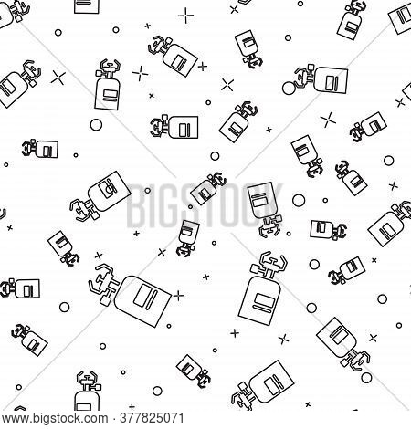 Black Line Camping Gas Stove Icon Isolated Seamless Pattern On White Background. Portable Gas Burner