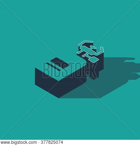 Isometric Camping Gas Stove Icon Isolated On Green Background. Portable Gas Burner. Hiking, Camping
