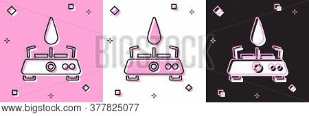 Set Camping Gas Stove Icon Isolated On Pink And White, Black Background. Portable Gas Burner. Hiking