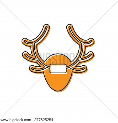 Orange Deer Antlers On Shield Icon Isolated On White Background. Hunting Trophy On Wall. Vector