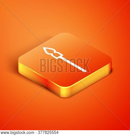 Isometric Medieval Spear Icon Isolated On Orange Background. Medieval Weapon. Vector