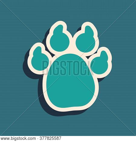 Green Paw Print Icon Isolated On Green Background. Dog Or Cat Paw Print. Animal Track. Long Shadow S