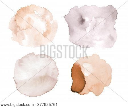 Set Of Watercolor Brush Stroke And Stain In Neutral Color. Hand Drawn Pastel Brush Stains Isolated O
