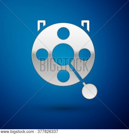 Silver Spinning Reel For Fishing Icon Isolated On Blue Background. Fishing Coil. Fishing Tackle. Vec