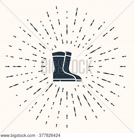 Grey Fishing Boots Icon Isolated On Beige Background. Waterproof Rubber Boot. Gumboots For Rainy Wea