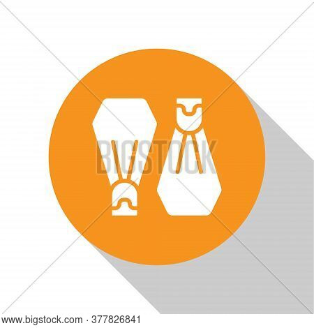 White Rubber Flippers For Swimming Icon Isolated On White Background. Diving Equipment. Extreme Spor