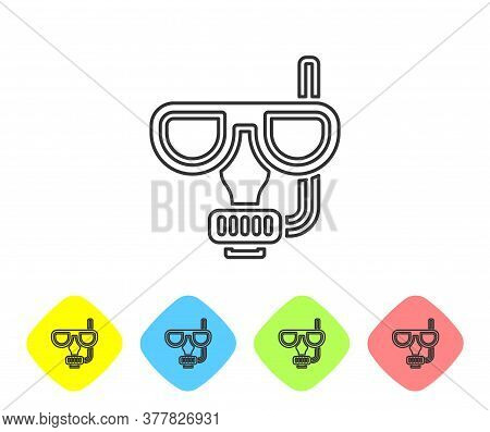 Grey Line Diving Mask And Snorkel Icon Isolated On White Background. Extreme Sport. Diving Underwate