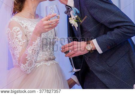 A Bride And Groom At Wedding Banquet
