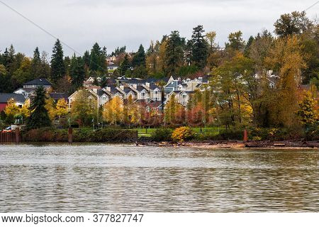 Residential Area In A Picturesque Place On The Banks Of The Fraser River, Park Area In Front Of The