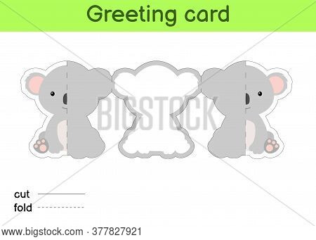 Cute Koala Fold-a-long Greeting Card Template. Great For Birthdays, Baby Showers, Themed Parties. Pr