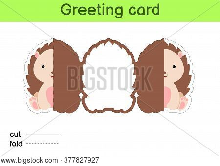 Cute Hedgehog Fold-a-long Greeting Card Template. Great For Birthdays, Baby Showers, Themed Parties.