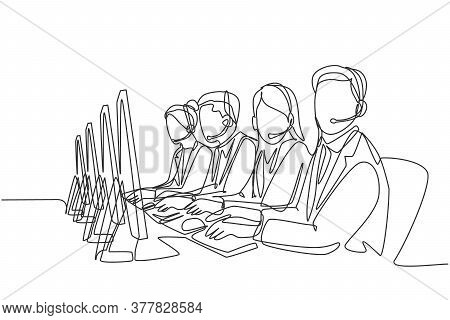 One Single Line Drawing Group Of Male And Female Customer Service Team Members Answer Complaint Phon
