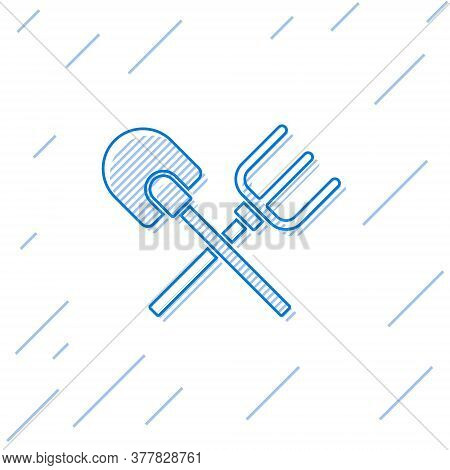 Blue Line Shovel And Rake Icon Isolated On White Background. Tool For Horticulture, Agriculture, Gar